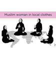 Muslim woman silhouette in awakened pose vector image