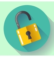 open lock icon with long shadow Flat vector image