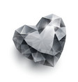 Shiny isolated diamond heart shape with shadow on vector image