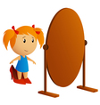 little girl with mirror vector image