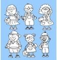 Cute School Girl and Boy Set vector image