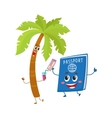 Funny palm tree and passport characters vector image vector image