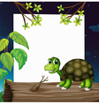 A turtle above the wood with an empty board at the vector image