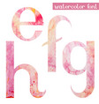 pink spring watercolor font letters e f g h vector image vector image