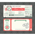 Vintage Boarding Pass Ticket Wedding Invitation vector image