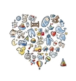 Heart shape design with toys for baby boy vector image