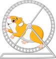 Cute hamster running in rolling wheel vector image
