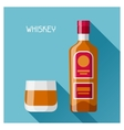 Bottle and glass of whiskey in flat design style vector image