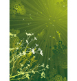 Few silhouettes of plants over green grunge backgr vector image
