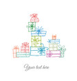 greeting card with colored doodle sketch gift vector image