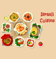 israeli cuisine traditional dinner dishes icon vector image