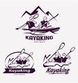 set of kayaking templates for labels emblems vector image