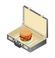 Business lunch hamburger in case Suitcase with vector image
