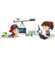 two girls and different school materials vector image