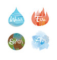 set of the four nature elements icons vector image