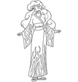 African Woman In Kimono Coloring Page vector image vector image