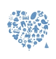 Heart shape design with toys for baby boy vector image vector image