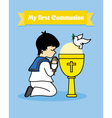 Boy praying with calyx vector image vector image