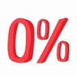 Red zero percent sign icon cartoon style vector image