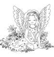 Cute angel with bunny Coloring book vector image