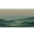Green mountains in fog vector image