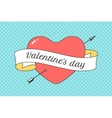 Old ribbon with message Valentine Day red heart vector image