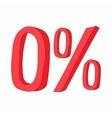 Red zero percent sign icon cartoon style vector image