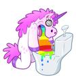 Unicorn pukes rainbow in the toilet vector image