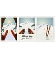 Set of winter ski vintage posters Skier getting vector image