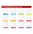 Calendar 2014 Spain Type 4 vector image vector image