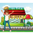 A man in front of the burger stand vector image vector image