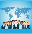 global business people with world map vector image