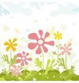 Background of spring flowers with leafs vector image