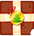 Christmas chocolate box with badge and ribbon vector image