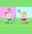 fat people playing tennis on the court vector image
