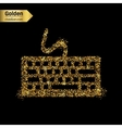Gold glitter icon of keyboard isolated on vector image