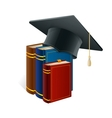 Graduation cap with books isolated on white vector image