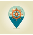 Helm pin map icon Marine Sea vector image