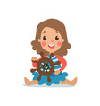 sweet little girl in sailors costume sitting and vector image