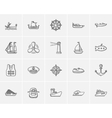 Transportation sketch icon set vector image