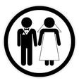 Wedding couple button vector image