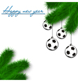 Soccer balls on Christmas tree branch vector image