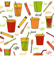seamless pattern with drinks vector image