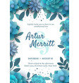 invitation with floral elements turquoise vector image