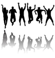 Set of young people silhouettes jumping vector image vector image