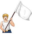 Guy Holds White Flag and Shouts vector image vector image