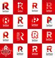 large set of logo letter R vector image