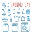 Laundry day hand drawn doodle objects vector image