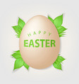 happy easter text on realistic egg vector image