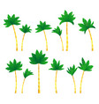 set tropical palm trees vector image